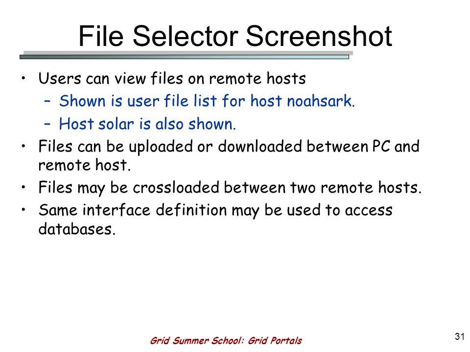 Grid Summer School: Grid Portals 30 Example: Host Solar