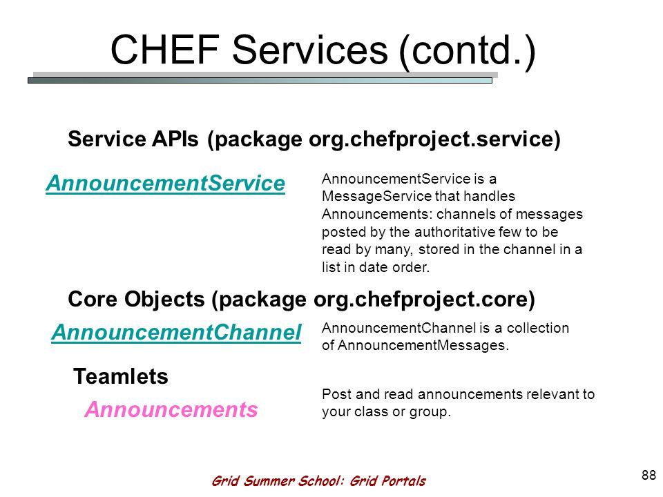 Grid Summer School: Grid Portals 87 CHEF Services (contd.)