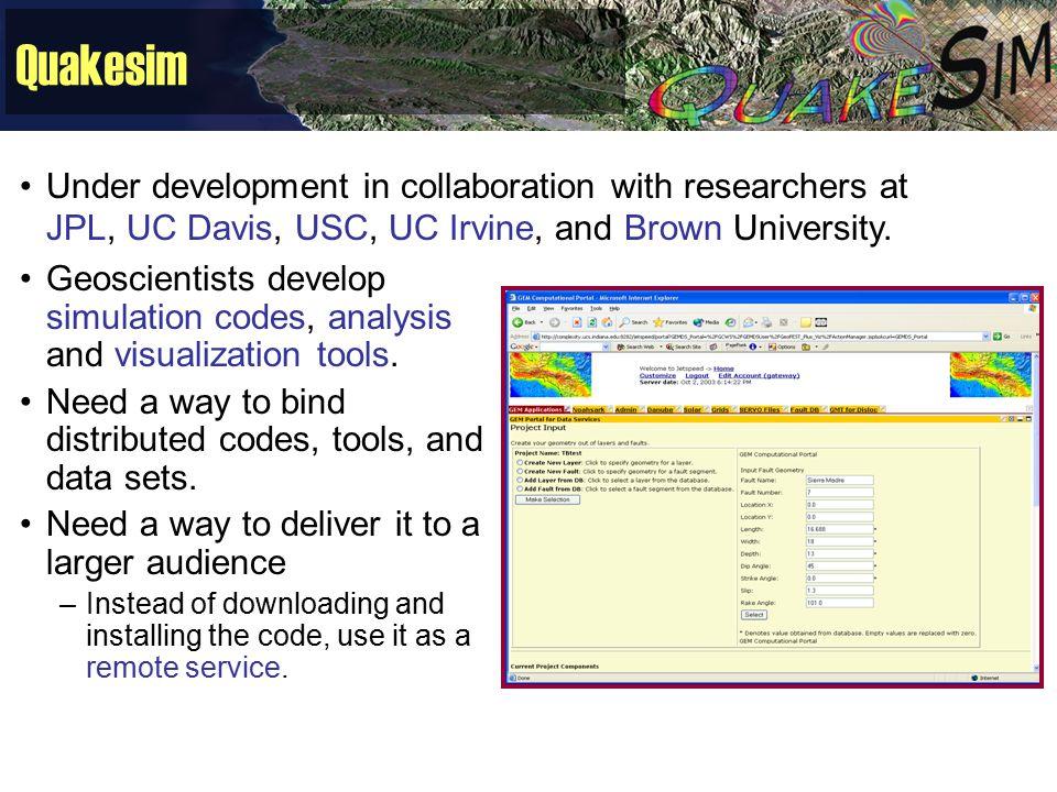 Quakesim Geoscientists develop simulation codes, analysis and visualization tools.