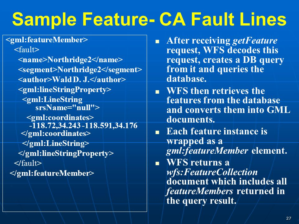 27 Sample Feature- CA Fault Lines Northridge2 Wald D. J. -118.72,34.243 -118.591,34.176 After receiving getFeature request, WFS decodes this request,