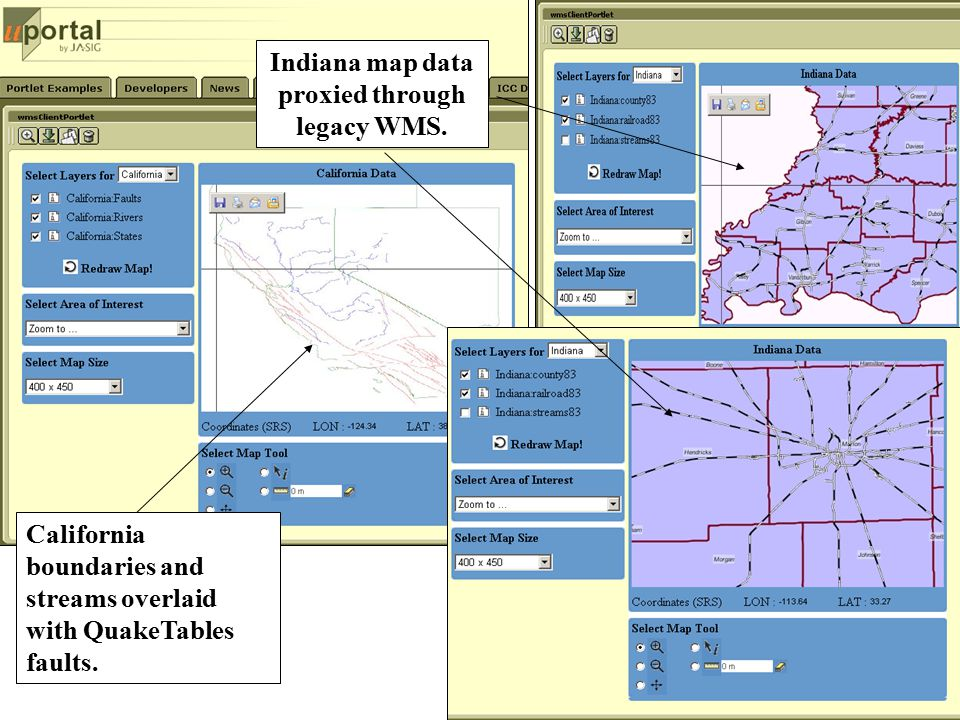 California boundaries and streams overlaid with QuakeTables faults. Indiana map data proxied through legacy WMS.