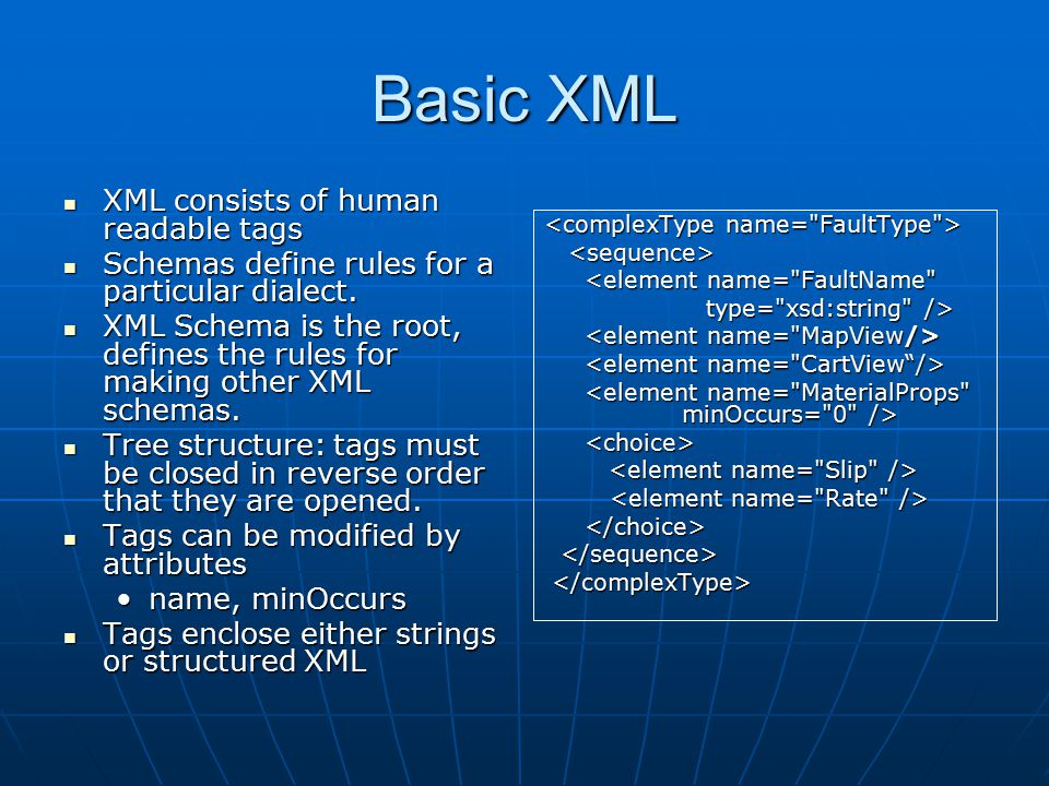 Basic XML XML consists of human readable tags XML consists of human readable tags Schemas define rules for a particular dialect.