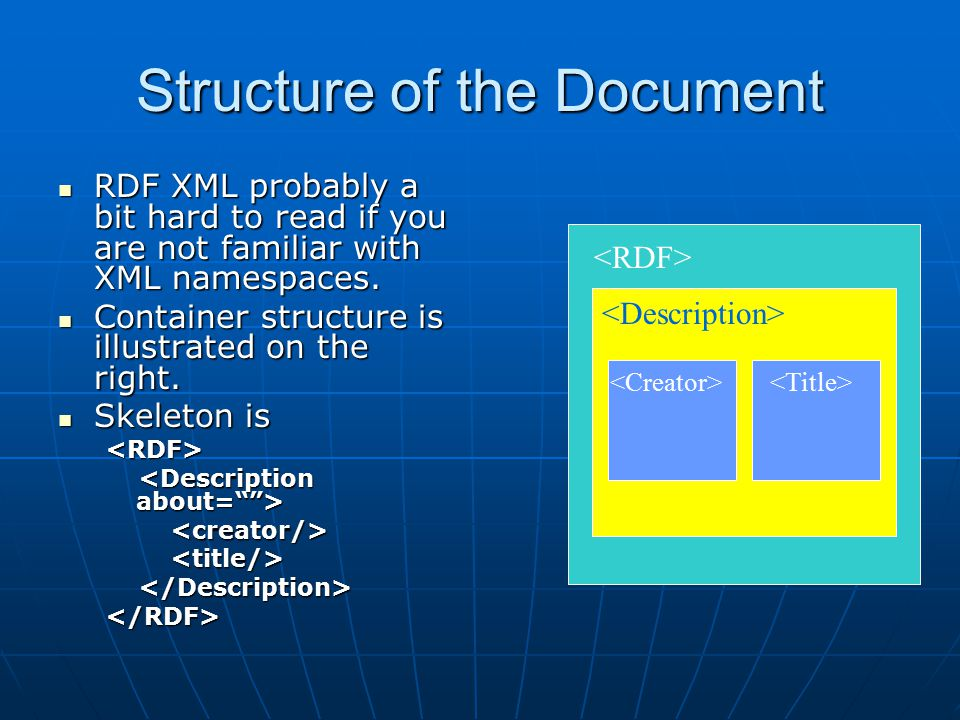 Structure of the Document RDF XML probably a bit hard to read if you are not familiar with XML namespaces.