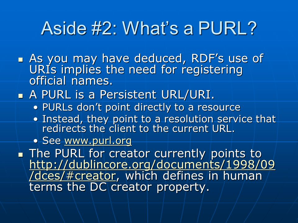Aside #2: What's a PURL.