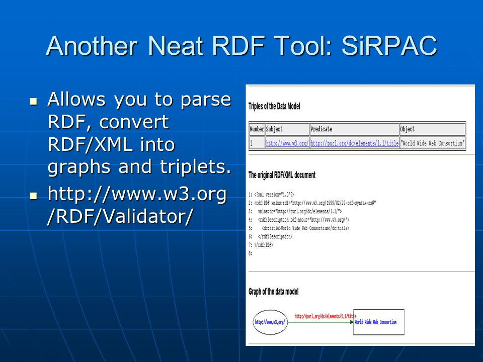 Another Neat RDF Tool: SiRPAC Allows you to parse RDF, convert RDF/XML into graphs and triplets.
