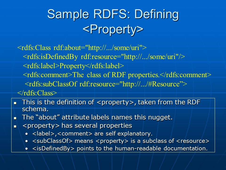 Sample RDFS: Defining Sample RDFS: Defining This is the definition of, taken from the RDF schema.