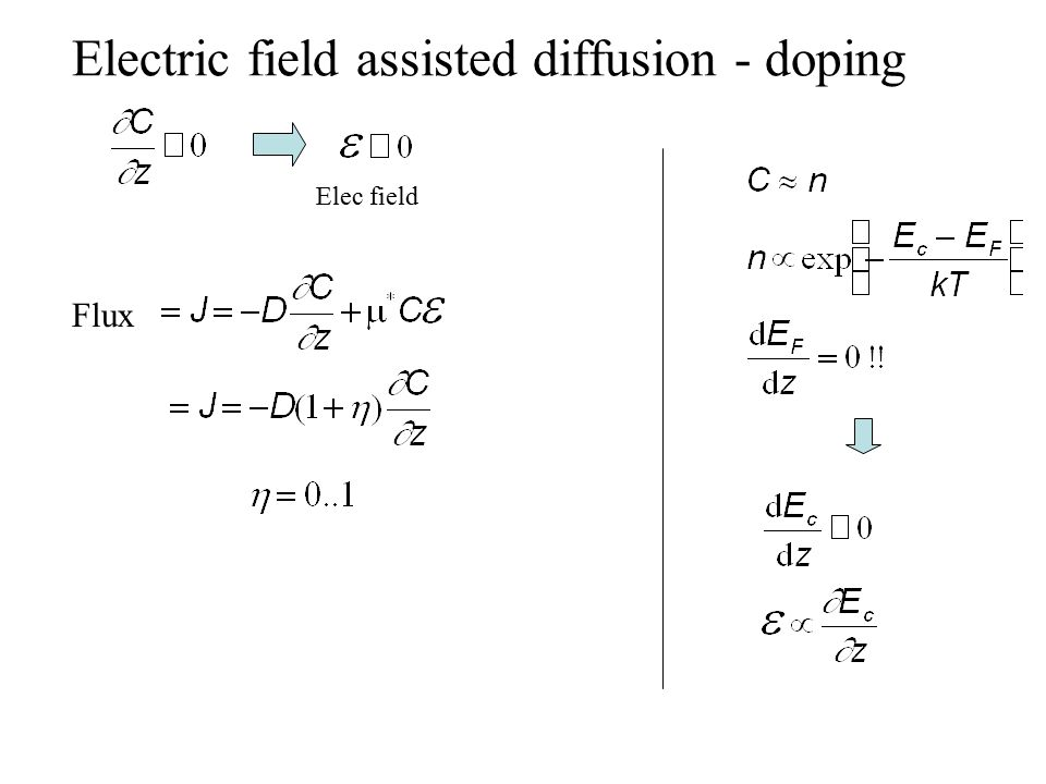 Electric field assisted diffusion - doping Elec field Flux