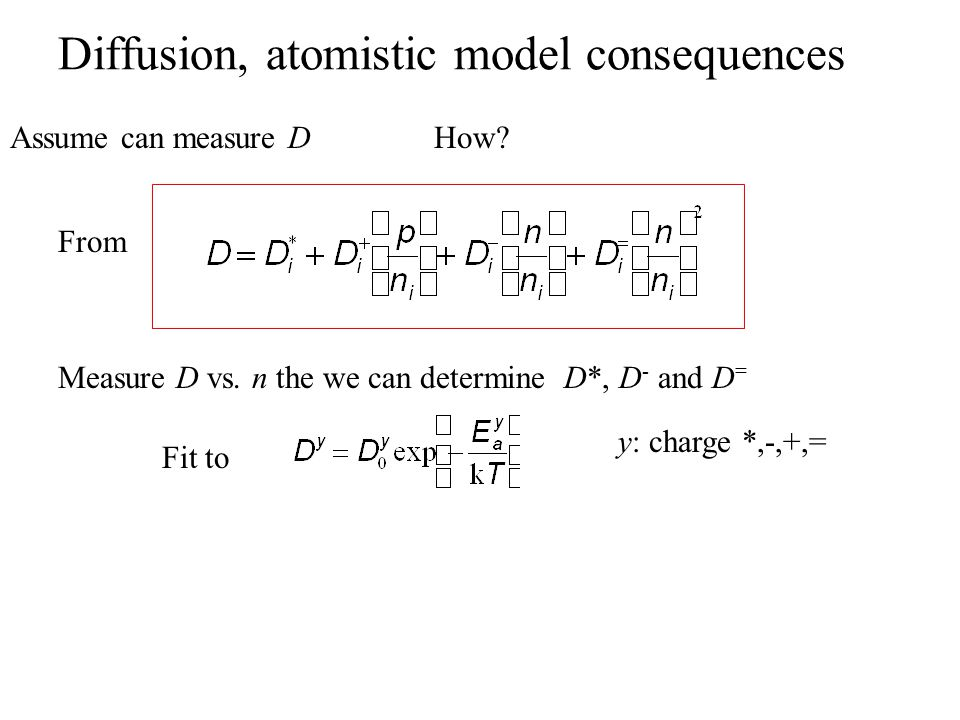 Diffusion, atomistic model consequences Assume can measure DHow.