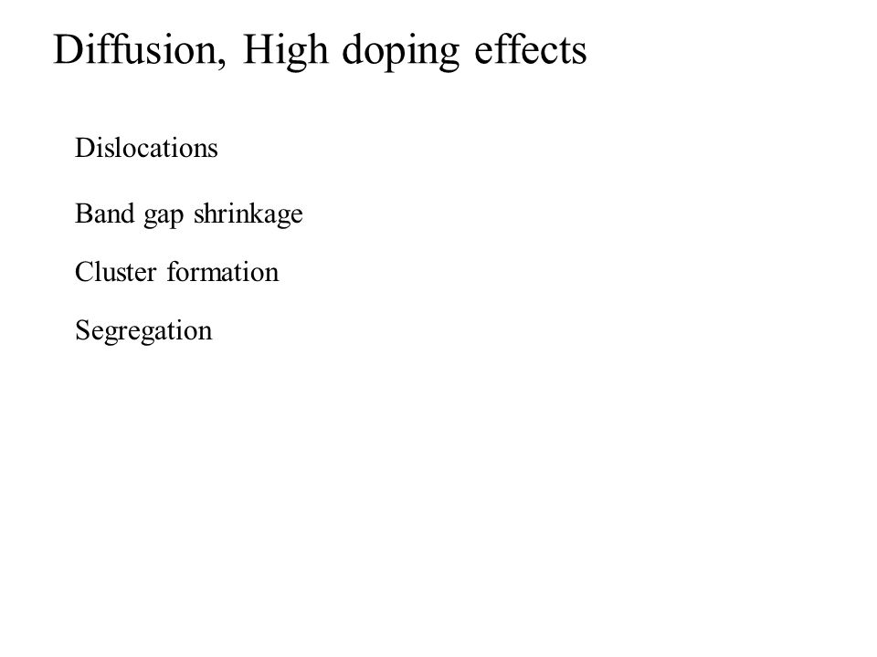 Diffusion, High doping effects Cluster formation Dislocations Band gap shrinkage Segregation