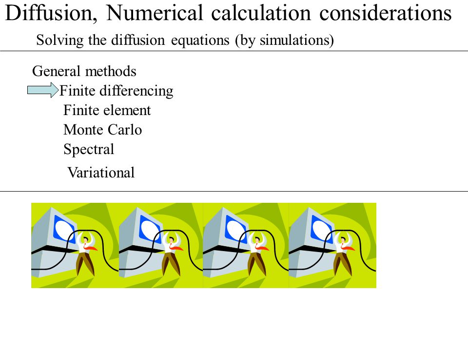 Diffusion, Numerical calculation considerations Finite differencing Solving the diffusion equations (by simulations) General methods Finite element Mo