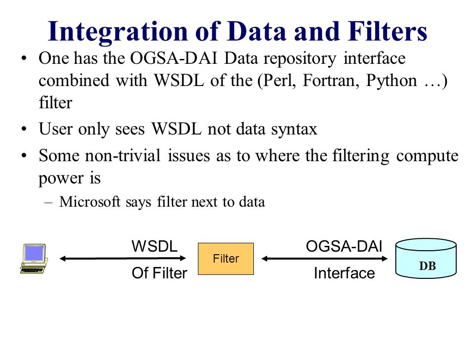Integration of Data and Filters One has the OGSA-DAI Data repository interface combined with WSDL of the (Perl, Fortran, Python …) filter User only sees WSDL not data syntax Some non-trivial issues as to where the filtering compute power is –Microsoft says filter next to data DB Filter WSDL Of Filter OGSA-DAI Interface