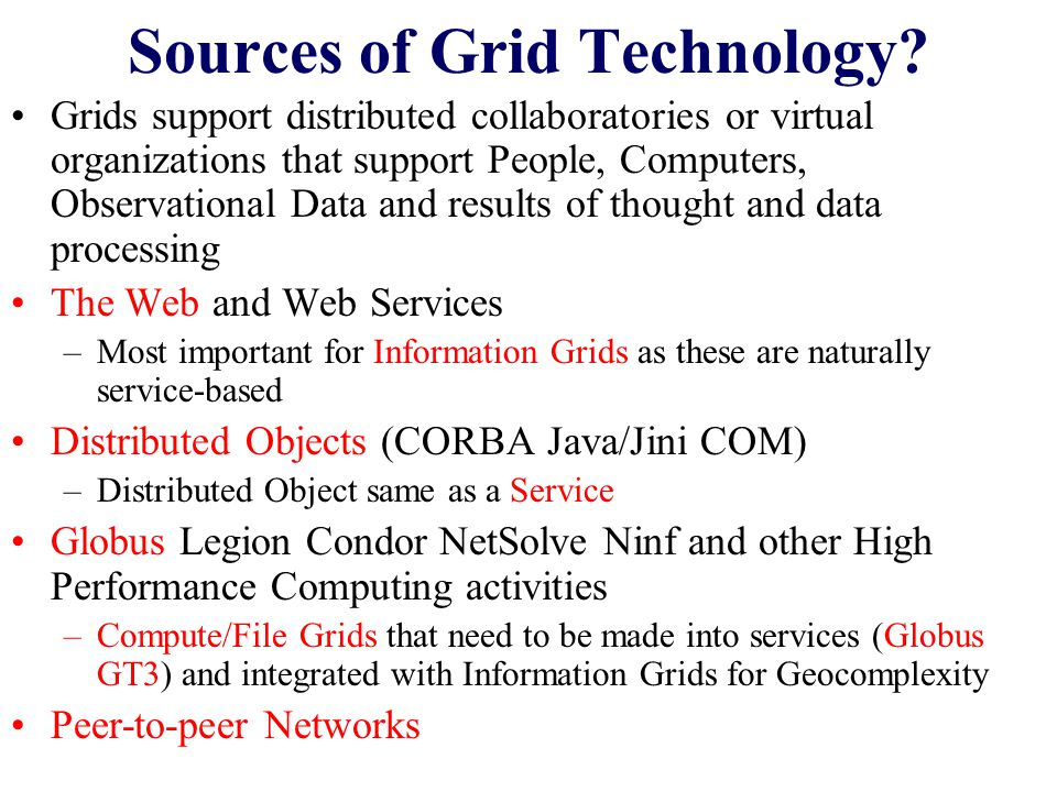Technologies under development at Indiana Portal Infrastructure and Portlets integrating with rest of Globus/OGSA-DAI Community –Including job submission, management of modest meta-data and linkage to databases –Should package as application web service toolkit and test on ACES world wide iSERVOGrid Some core portal Metadata (Semantic Grid) services Messaging system between Web services that is useful for – Service Management /Autonomic Grids –Security –Notification service Collaboration infrastructure and portlets