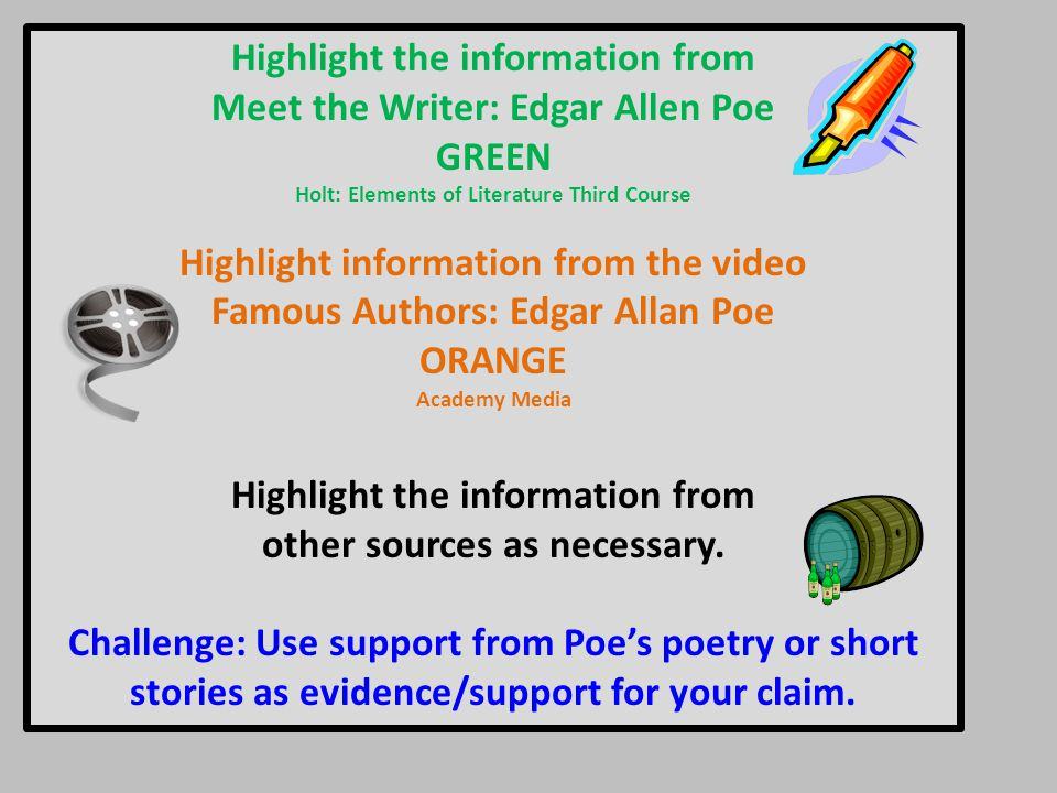 Highlight the information from Meet the Writer: Edgar Allen Poe GREEN Holt: Elements of Literature Third Course Highlight information from the video Famous Authors: Edgar Allan Poe ORANGE Academy Media Highlight the information from other sources as necessary.