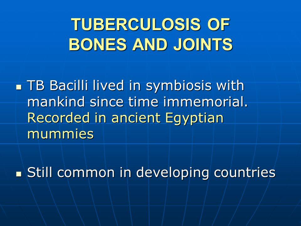 TB SPINE (POTT'S DISEASE) PERCIVAL POTT 1779 SECONDARY TO OTHER PRIMARY SECONDARY TO OTHER PRIMARY HEMATOLOGICAL HEMATOLOGICAL 20% OTHER VISCERA 12% OTHER BONES/JOINTS TWO ADJACENT VERTEBRAE SOMETIMES MORE THAN ONE TWO ADJACENT VERTEBRAE SOMETIMES MORE THAN ONE SKIP LESIONS IN 7% SKIP LESIONS IN 7%