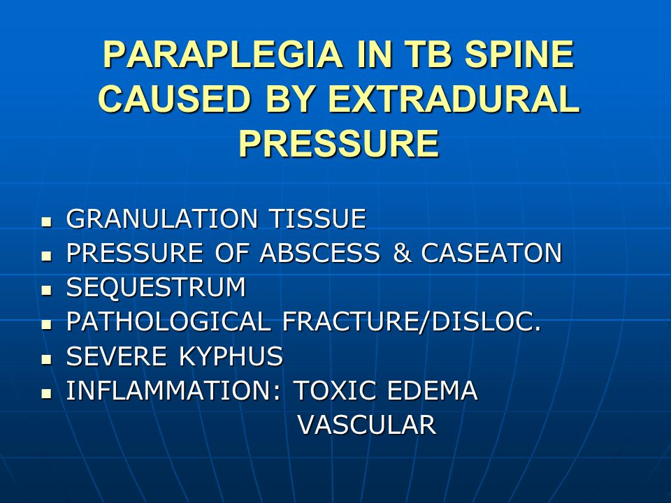 PARAPLEGIA IN TB SPINE CAUSED BY EXTRADURAL PRESSURE GRANULATION TISSUE GRANULATION TISSUE PRESSURE OF ABSCESS & CASEATON PRESSURE OF ABSCESS & CASEATON SEQUESTRUM SEQUESTRUM PATHOLOGICAL FRACTURE/DISLOC.