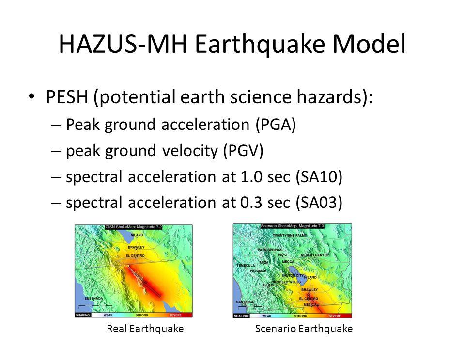 HAZUS-MH Earthquake Model PESH (potential earth science hazards): – Peak ground acceleration (PGA) – peak ground velocity (PGV) – spectral acceleration at 1.0 sec (SA10) – spectral acceleration at 0.3 sec (SA03) Real EarthquakeScenario Earthquake