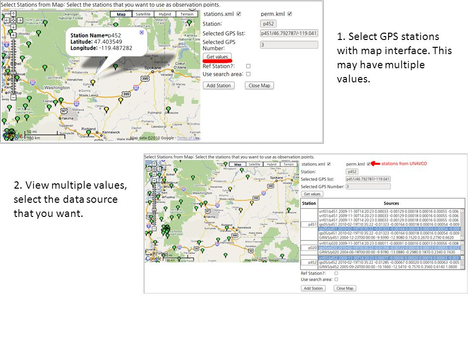 1. Select GPS stations with map interface. This may have multiple values.