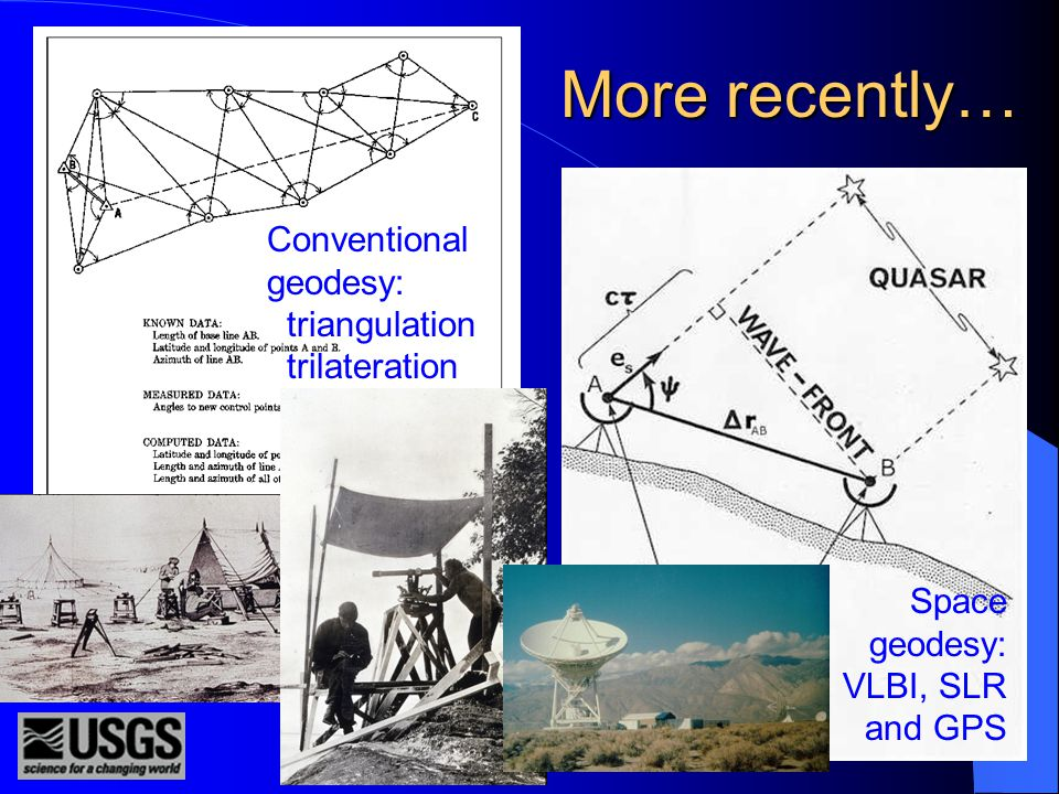 More recently… Conventional geodesy: triangulation trilateration Space geodesy: VLBI, SLR and GPS