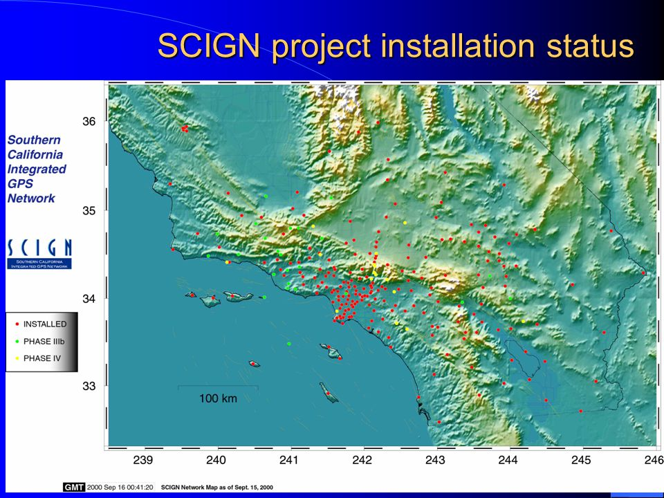 SCIGN – a great GPS network: carefully planned - well reasoned Monuments –Each of 5 legs is drilled to 10 meters Lowermost 6 meters is anchored Upper 4 meters is isolated from soil –Stainless for longevity Innovative geodetic tools –SCIGN radomes & adaptors –Data acquisition software Redundant precise processing –GIPSY and GAMIT –Rigorous comparisons ongoing Accuracies are the highest ever achieved, exceeding even highly optimistic expectations for SCIGN movie by John Galetzka, USGS