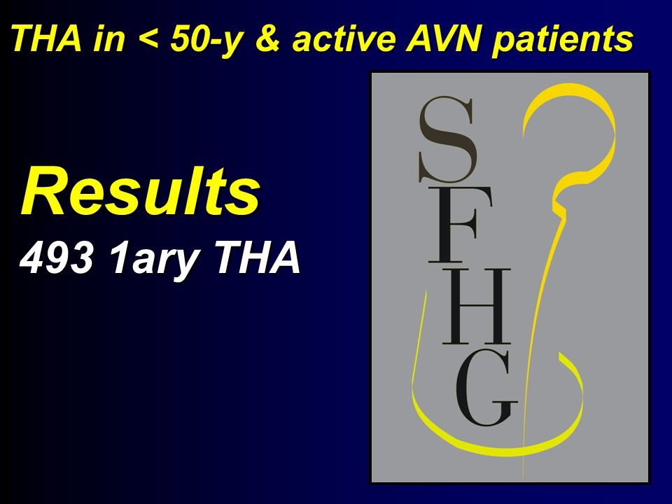 Results 493 1ary THA THA in < 50-y & active AVN patients