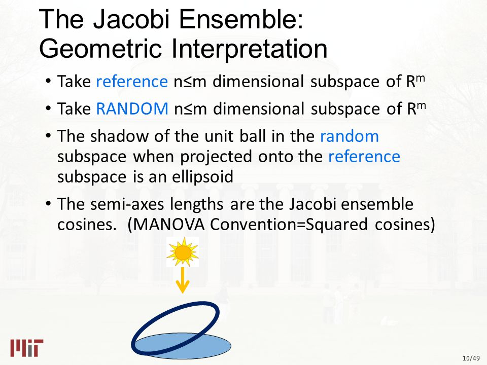 10/49 The Jacobi Ensemble: Geometric Interpretation Take reference n≤m dimensional subspace of R m Take RANDOM n≤m dimensional subspace of R m The shadow of the unit ball in the random subspace when projected onto the reference subspace is an ellipsoid The semi-axes lengths are the Jacobi ensemble cosines.