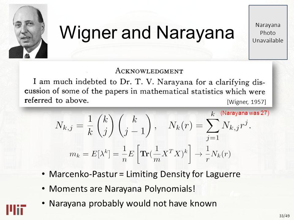 33/49 Wigner and Narayana Marcenko-Pastur = Limiting Density for Laguerre Moments are Narayana Polynomials.