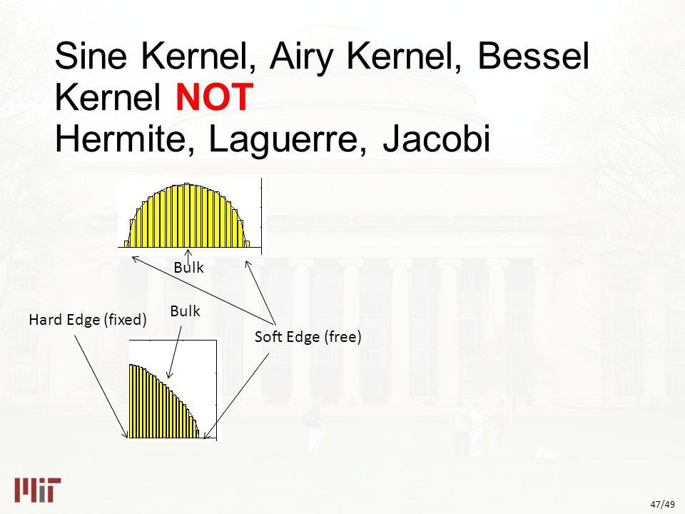 47/49 Sine Kernel, Airy Kernel, Bessel Kernel NOT Hermite, Laguerre, Jacobi Bulk Soft Edge (free) Hard Edge (fixed) Bulk