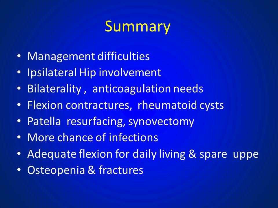 Summary Management difficulties Ipsilateral Hip involvement Bilaterality, anticoagulation needs Flexion contractures, rheumatoid cysts Patella resurfa