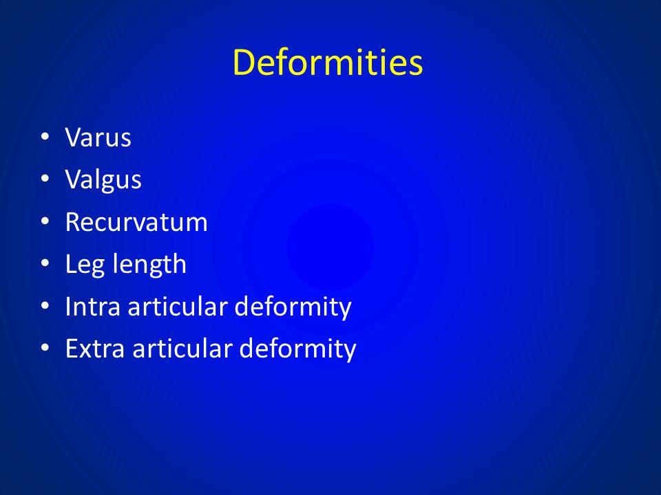 Deformities Varus Valgus Recurvatum Leg length Intra articular deformity Extra articular deformity