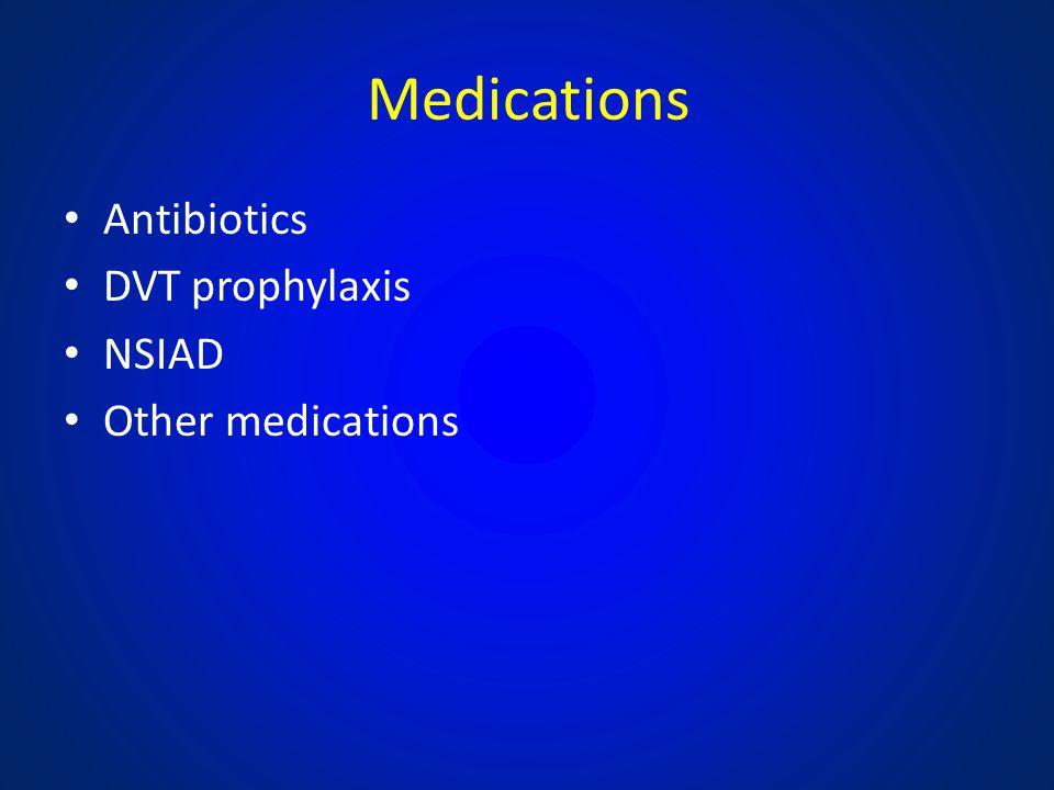 Medications Antibiotics DVT prophylaxis NSIAD Other medications