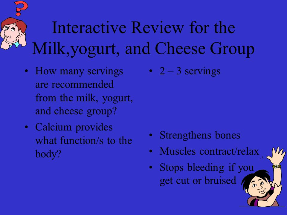Interactive Review for the Milk,yogurt, and Cheese Group How many servings are recommended from the milk, yogurt, and cheese group.