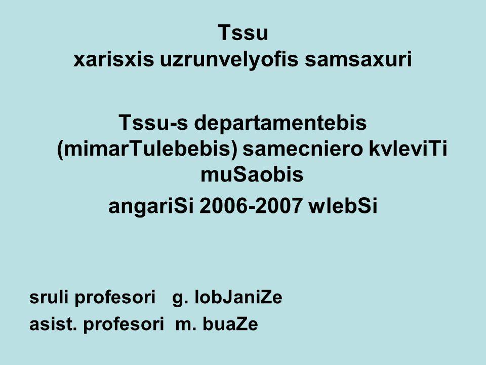 Tssu xarisxis uzrunvelyofis samsaxuri Tssu-s departamentebis (mimarTulebebis) samecniero kvleviTi muSaobis angariSi 2006-2007 wlebSi sruli profesori g.