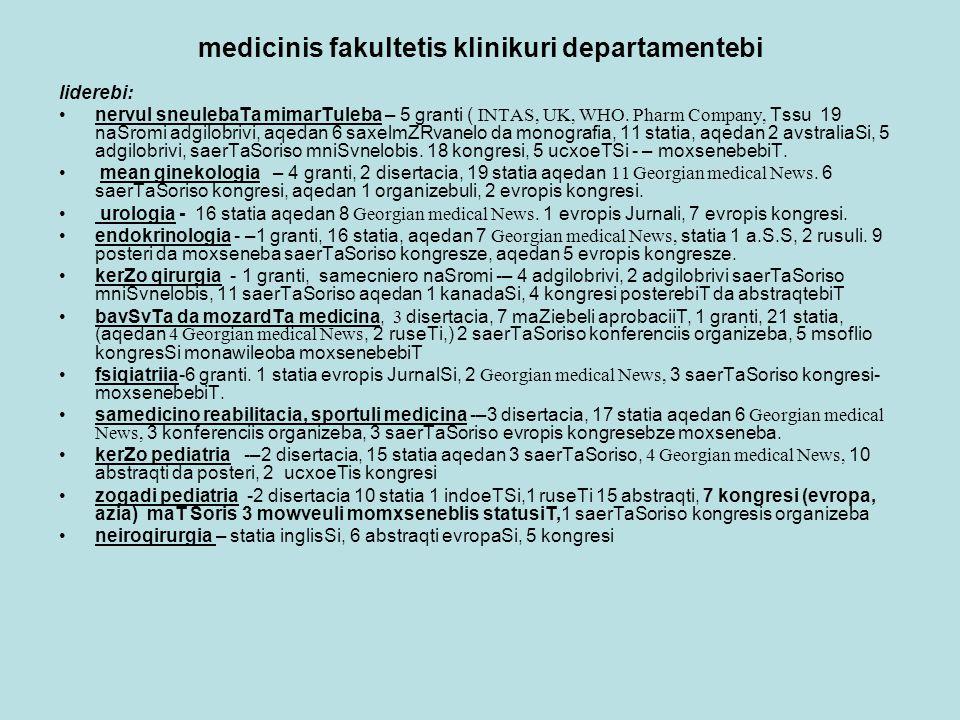 medicinis fakultetis klinikuri departamentebi liderebi: nervul sneulebaTa mimarTuleba – 5 granti ( INTAS, UK, WHO.