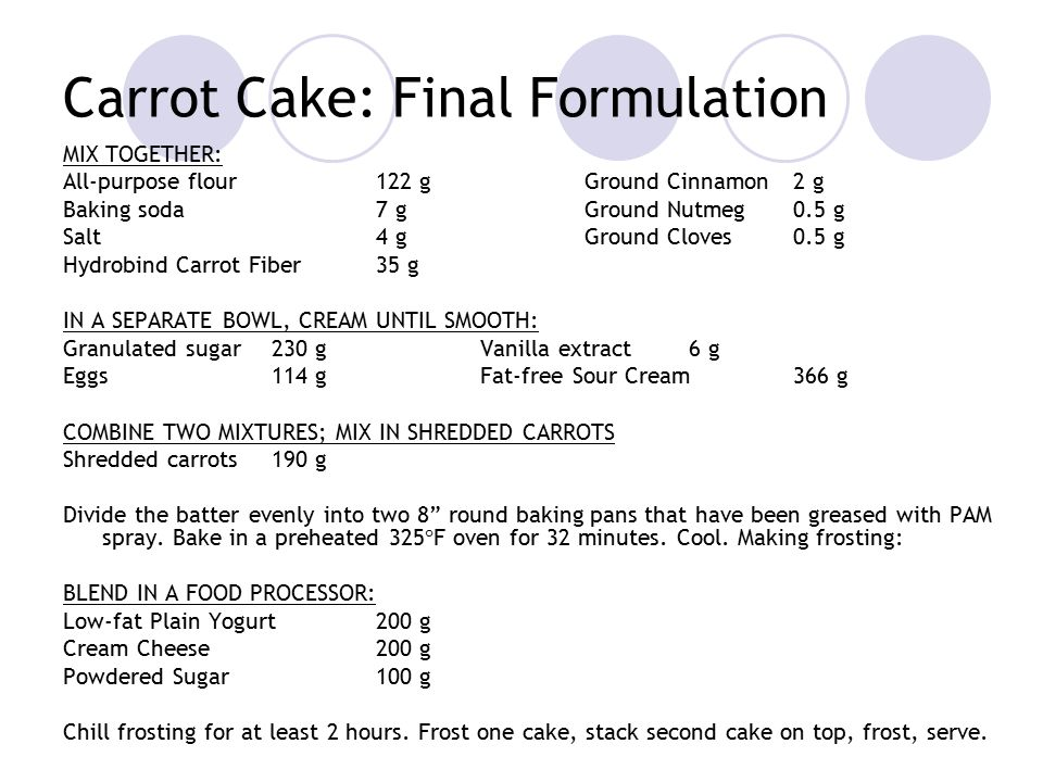 Carrot Cake: Final Formulation MIX TOGETHER: All-purpose flour122 gGround Cinnamon2 g Baking soda7 gGround Nutmeg0.5 g Salt4 gGround Cloves0.5 g Hydrobind Carrot Fiber35 g IN A SEPARATE BOWL, CREAM UNTIL SMOOTH: Granulated sugar230 gVanilla extract6 g Eggs114 gFat-free Sour Cream366 g COMBINE TWO MIXTURES; MIX IN SHREDDED CARROTS Shredded carrots190 g Divide the batter evenly into two 8 round baking pans that have been greased with PAM spray.