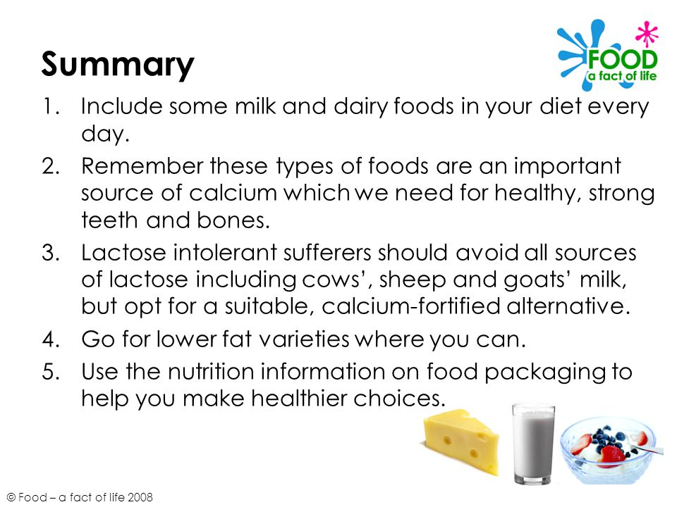 © Food – a fact of life 2008 Summary 1.Include some milk and dairy foods in your diet every day. 2.Remember these types of foods are an important sour