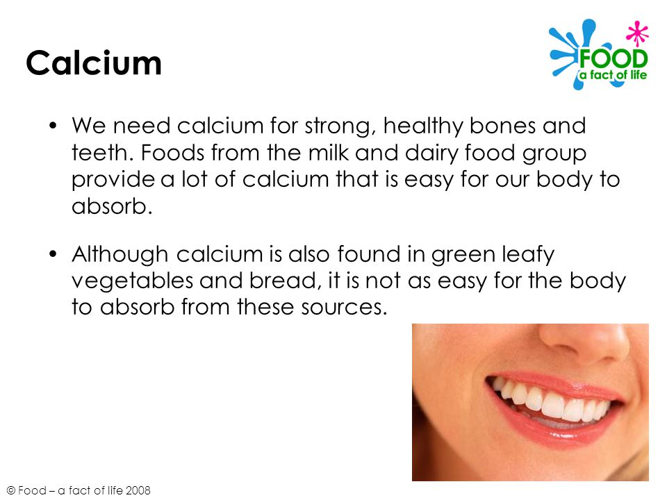 © Food – a fact of life 2008 Calcium We need calcium for strong, healthy bones and teeth. Foods from the milk and dairy food group provide a lot of ca