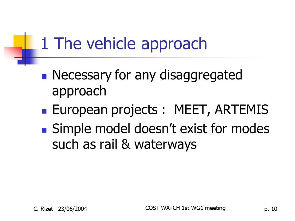 C.Rizet 23/06/2004 COST WATCH 1st WG1 meeting p.