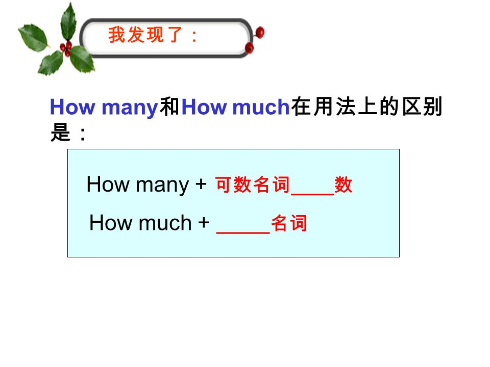 How many 和 How much 在用法上的区别 是: 我发现了: How many + 可数名词 ____ 数 How much + _____ 名词