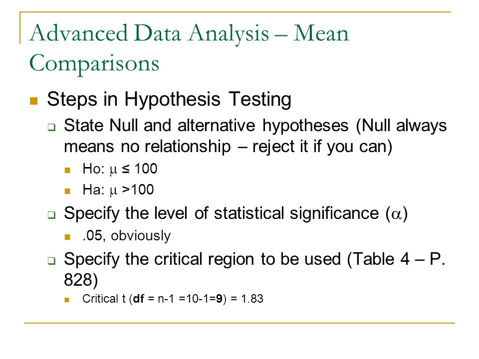 Advanced Data Analysis – Mean Comparisons Steps in Hypothesis Testing  State Null and alternative hypotheses (Null always means no relationship – reject it if you can) Ho:  ≤ 100 Ha:  >100  Specify the level of statistical significance (  ).05, obviously  Specify the critical region to be used (Table 4 – P.