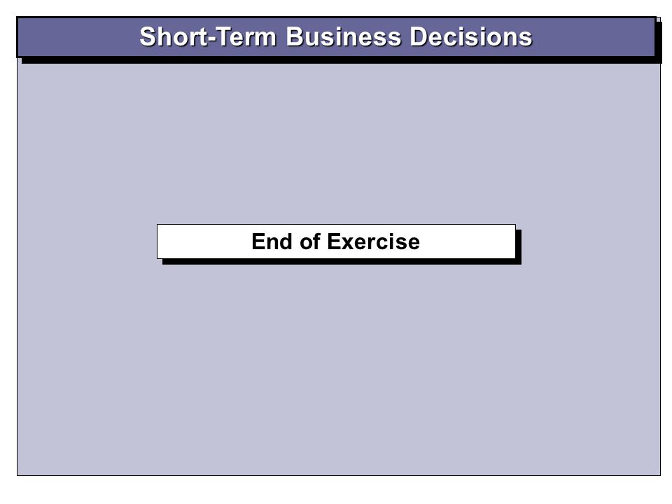 End of Exercise Short-Term Business Decisions