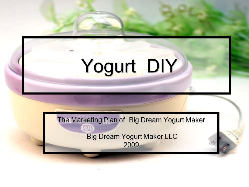 Description and ownership of proposed business Founded in the year 2009, Big Dream Yogurt Maker LLC is a manufacturer specialized in producing yogurt maker.
