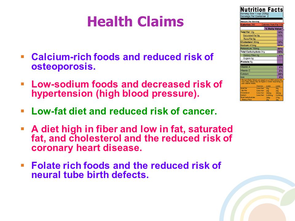 Health Claims  Calcium-rich foods and reduced risk of osteoporosis.
