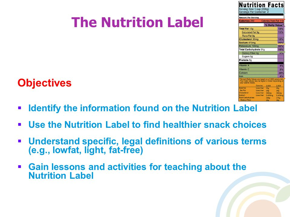 The Nutrition Label Objectives  Identify the information found on the Nutrition Label  Use the Nutrition Label to find healthier snack choices  Understand specific, legal definitions of various terms (e.g., lowfat, light, fat-free)  Gain lessons and activities for teaching about the Nutrition Label