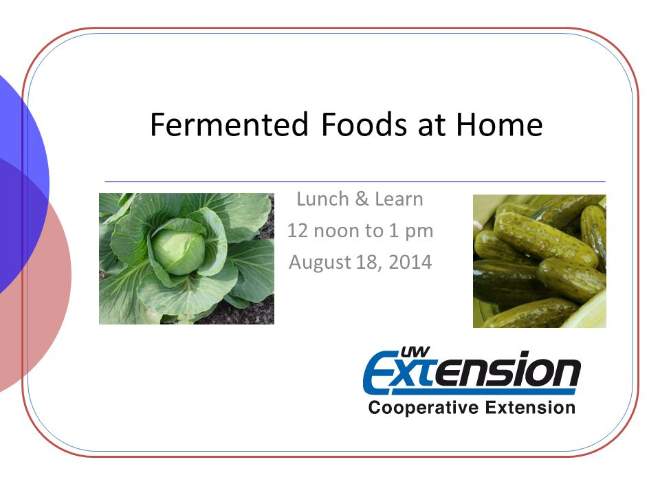 Fermented Foods at Home Lunch & Learn 12 noon to 1 pm August 18, 2014