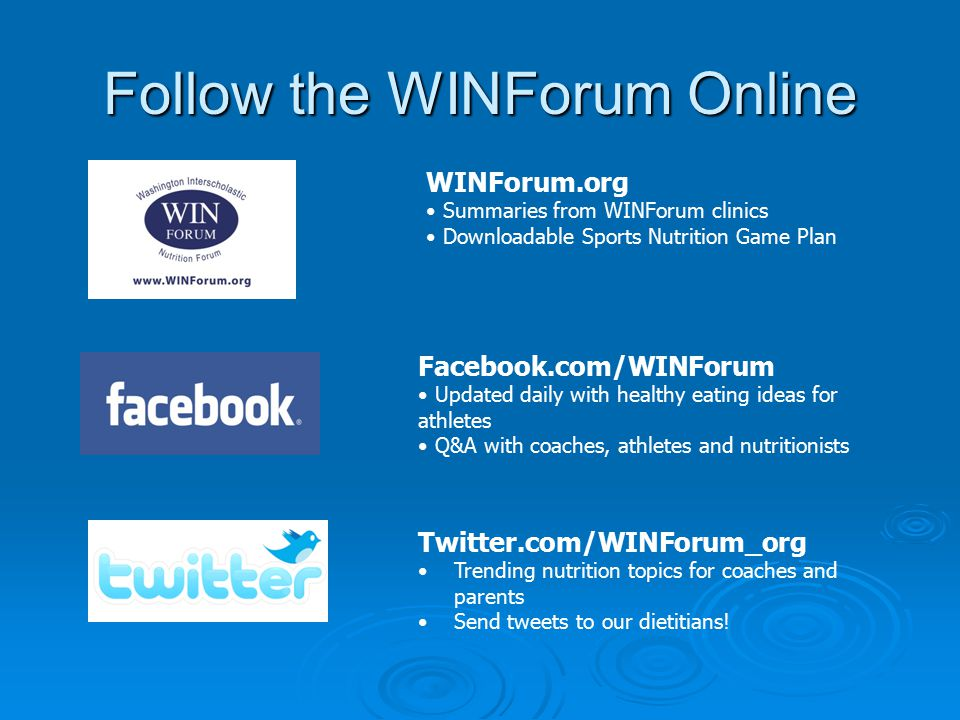 WINForum Sports Nutrition Game Plan Make it Work for You!