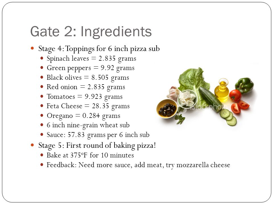 Gate 2: Ingredients Stage 4: Toppings for 6 inch pizza sub Spinach leaves = 2.835 grams Green peppers = 9.92 grams Black olives = 8.505 grams Red onion = 2.835 grams Tomatoes = 9.923 grams Feta Cheese = 28.35 grams Oregano = 0.284 grams 6 inch nine-grain wheat sub Sauce: 57.83 grams per 6 inch sub Stage 5: First round of baking pizza.