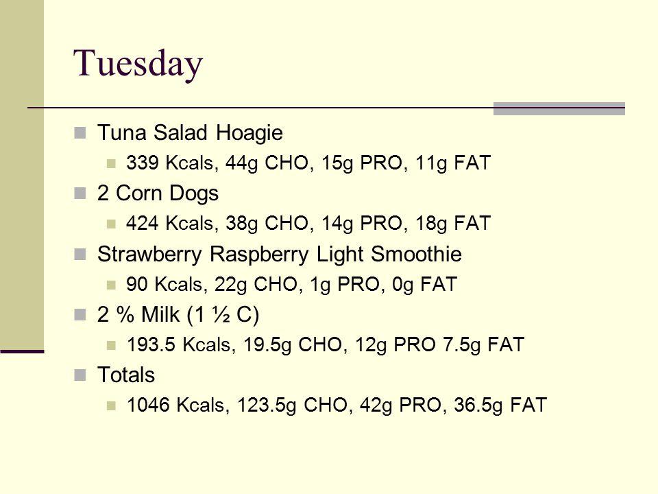 Tuesday Tuna Salad Hoagie 339 Kcals, 44g CHO, 15g PRO, 11g FAT 2 Corn Dogs 424 Kcals, 38g CHO, 14g PRO, 18g FAT Strawberry Raspberry Light Smoothie 90 Kcals, 22g CHO, 1g PRO, 0g FAT 2 % Milk (1 ½ C) 193.5 Kcals, 19.5g CHO, 12g PRO 7.5g FAT Totals 1046 Kcals, 123.5g CHO, 42g PRO, 36.5g FAT