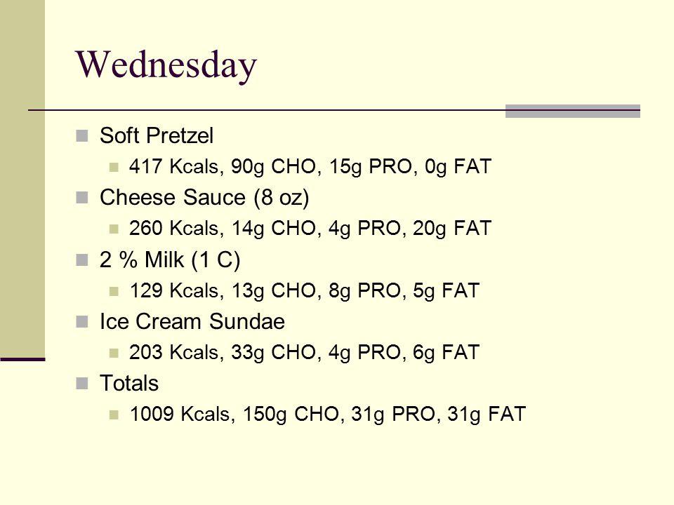 Wednesday Soft Pretzel 417 Kcals, 90g CHO, 15g PRO, 0g FAT Cheese Sauce (8 oz) 260 Kcals, 14g CHO, 4g PRO, 20g FAT 2 % Milk (1 C) 129 Kcals, 13g CHO, 8g PRO, 5g FAT Ice Cream Sundae 203 Kcals, 33g CHO, 4g PRO, 6g FAT Totals 1009 Kcals, 150g CHO, 31g PRO, 31g FAT