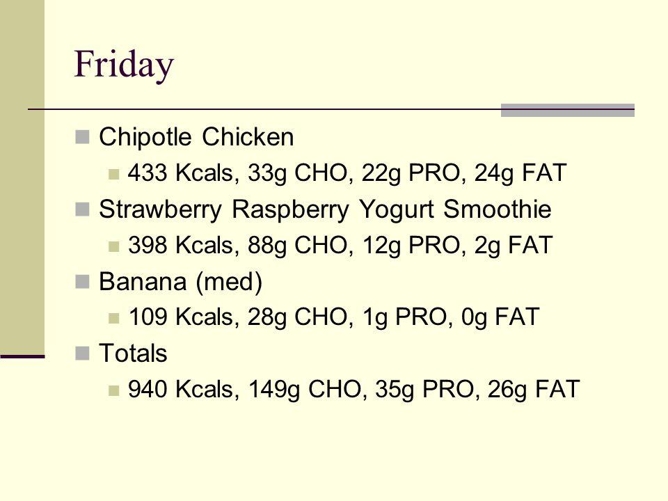 Friday Chipotle Chicken 433 Kcals, 33g CHO, 22g PRO, 24g FAT Strawberry Raspberry Yogurt Smoothie 398 Kcals, 88g CHO, 12g PRO, 2g FAT Banana (med) 109 Kcals, 28g CHO, 1g PRO, 0g FAT Totals 940 Kcals, 149g CHO, 35g PRO, 26g FAT