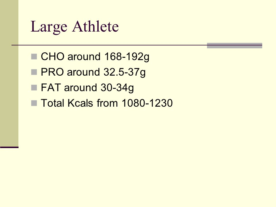 Large Athlete CHO around 168-192g PRO around 32.5-37g FAT around 30-34g Total Kcals from 1080-1230